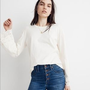 Madewell Embroidered Eyelet Lace Sleeve Blouse